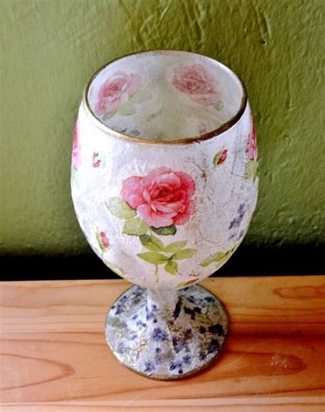 Rice Paper Decoupage - how to decoupage on glass with rice paper napkin glitter