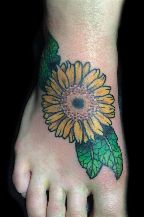 traditional sunflower tattoo traditional sunflower flower foot by