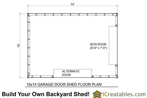 garage door floor plan 10x14 shed plans with garage door icreatables