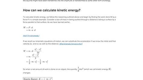 kinetic energy article khan academy