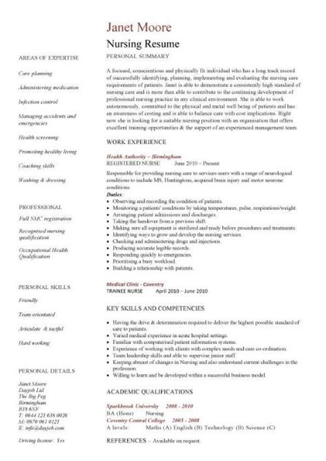 Curriculum Vitae Resume Sles For Nurses Nursing Cv Template Resume Exles Sle Registered Resumes Healthcare Work