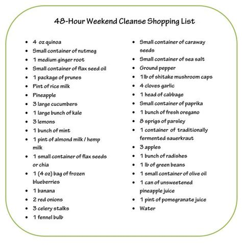 48 Hour Detox by Dr Oz 48 Hour Cleanse Shopping List Fitness And Health