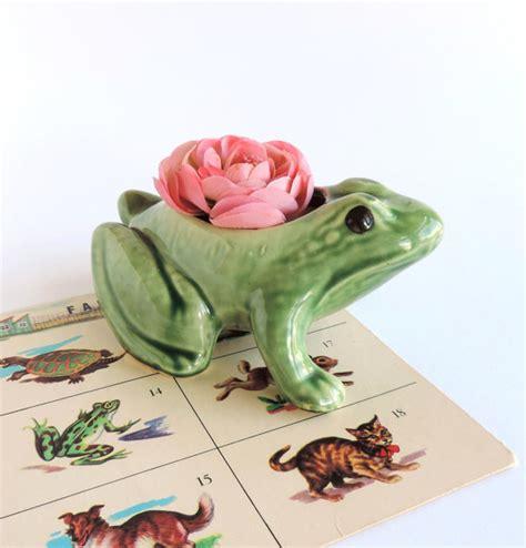 Ceramic Frog Planter by Vintage Green Ceramic Frog Planter Mid Century Figural Toad