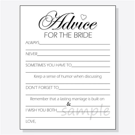 advice cards template diy advice for the printable cards for a bridal shower