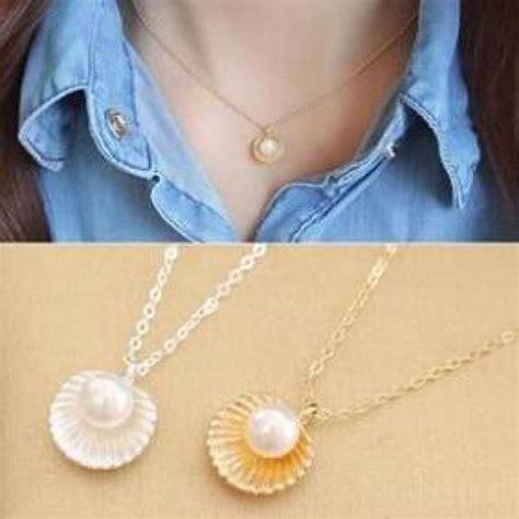 Kalung Choker Korea Choker Shape Simple aliexpress buy gift korean fashion simple pearl shell shape pendant necklace
