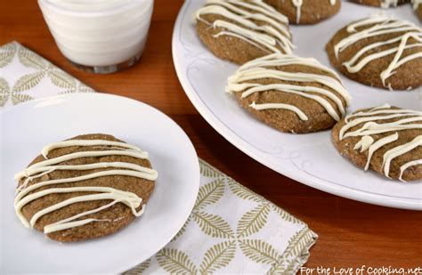 soft gingersnap cookies with white chocolate drizzle for