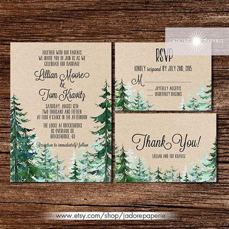 forest wedding invitation rustic watercolor tree invite outdoor wedding mountain pine tree