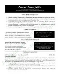 Teaching Consultant Sle Resume by Education Consultant Resume Exle