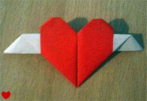 Origami Hearts With Wings - origami with wings photos