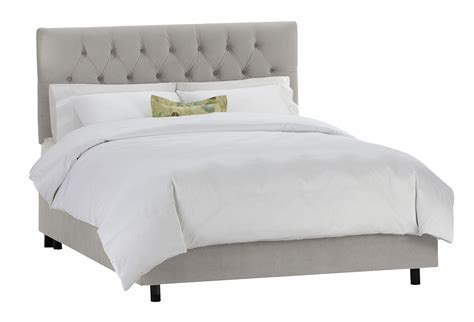 tufted velvet bed thea velvet tufted bed light gray panel from one kings lane
