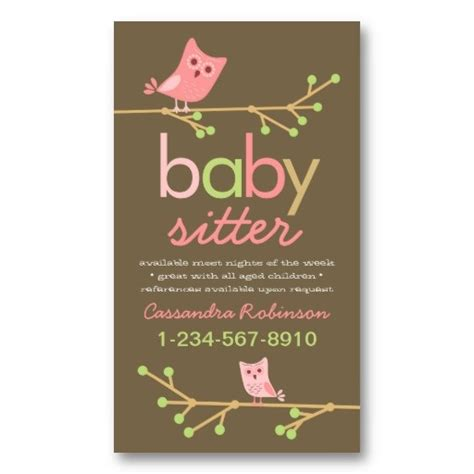 baby business card templates free 10 best babysitting flyer template images on