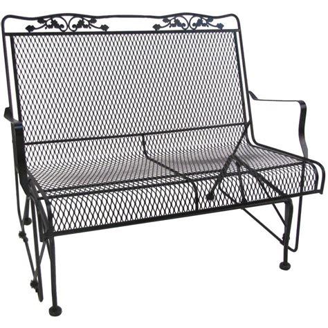 wrought iron patio glider bench arlington house glenbrook black patio glider 7874000