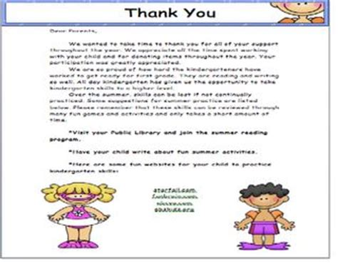 thank you letter from parents to kindergarten thank you letter to parents school ideas