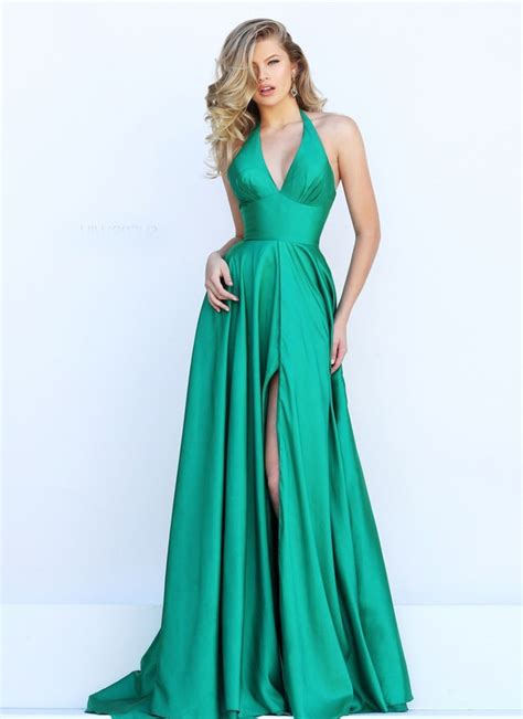 Saten Royal Silk Sale simple halter high slit emerald green satin evening