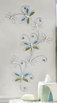 Dragonfly bath decor silver metal dragonfly w blue amp green glass wall