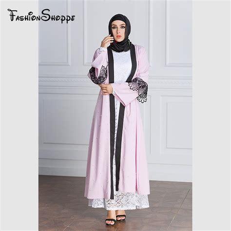 Gamis Abaya Vahira Maxi Belt muslim maxi dress open abaya lace beading jilbab belt robe gowns cardigan ramadan kimono