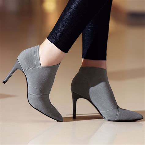 womens cheap high heels meotina ankle boots fashion boots genuine leather