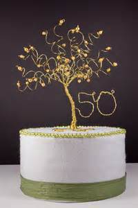 50th cake topper 50th anniversary cake topper gold tree sculpture by
