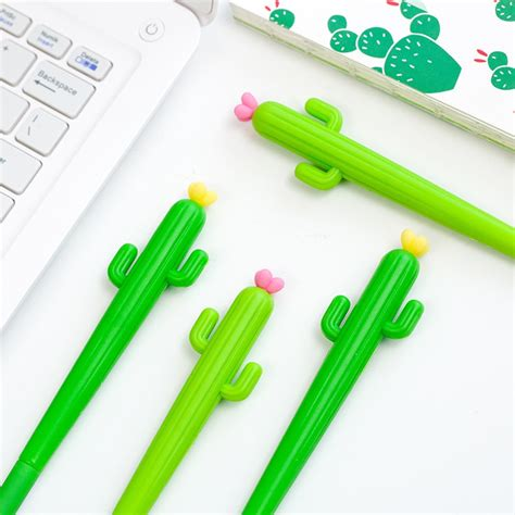 Cactus 0 5mm Gel Pen 1pcs korean japanese cactus rubber 0 5mm