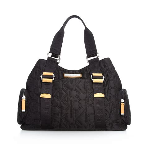 calvin klein quilted tote in black lyst
