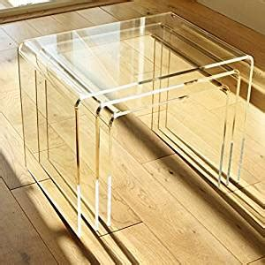 amazon nest of tables 3er set beistelltisch plexiglas acryl klar 8mm nest of