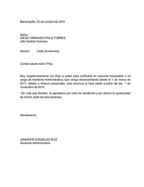 renuncia empleada domestica en mexico carta de renuncia