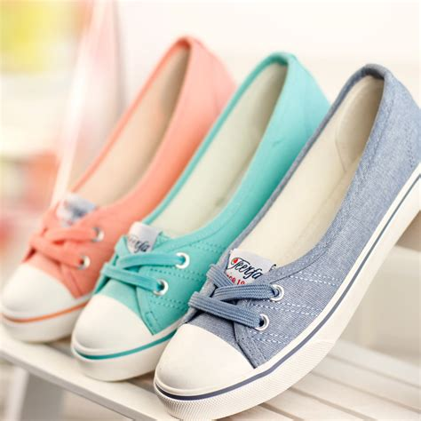 Flat Shoes Kanvas Sepatu Sendal Murah Wanita 033 1 aliexpress buy shoes ballet flats loafers casual breathable flats slip on