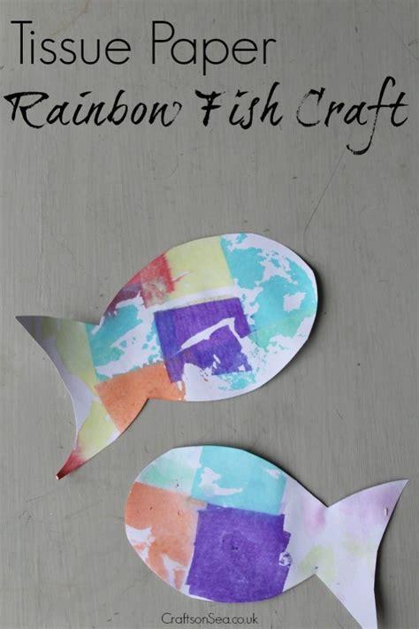 Tissue Paper Rainbow Craft - tissue paper rainbow fish craft sea crafts rainbow fish