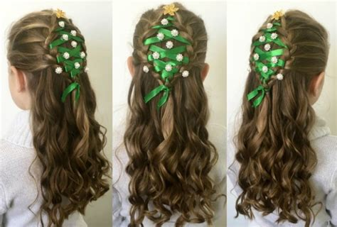 christmas tree hairstyle for girls 24 easy hairstyles for one for each day of advent