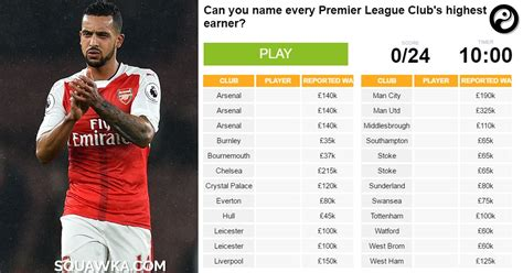 epl highest paid player can you name every premier league club s highest paid