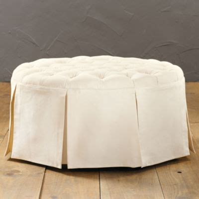 round tufted ottoman with skirt hayes round tufted ottoman ballard designs bedroom