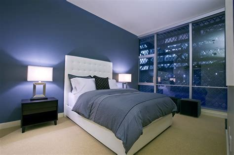 Bedroom Decorating Ideas Blue Walls Large Glass Windows For Modern Bedroom Decorating Ideas