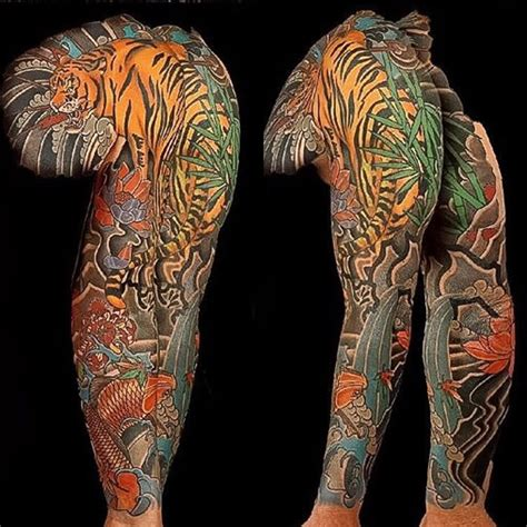 tiger lotus tattoo asian japanese sleeve chest panel tiger koi lotus