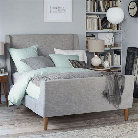 grey sleigh bed upholstered sleigh grey bed set