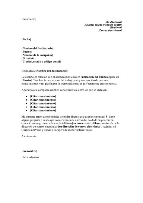 Modelo De Carta De Presentaci N De Un Curriculum modelo carta de presentaci 243 n