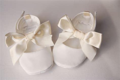 white satin baby shoes christening wedding or baptism