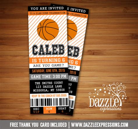 printable basketball ticket birthday invitation sports