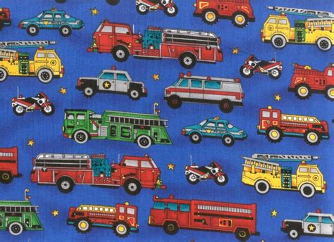 mack fabric by the yard blue truck