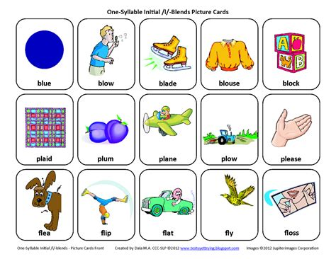 Word For L by Testy Yet Trying L Blends Bl Pl Fl Free Speech Therapy Articulation Picture Cards