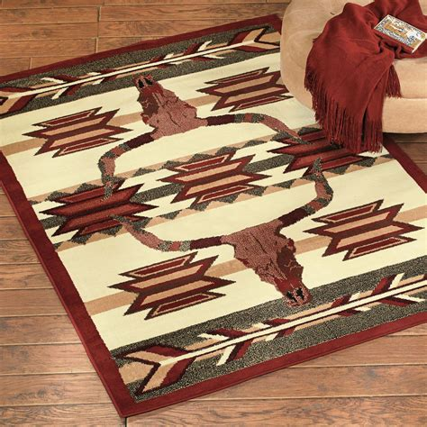 longhorns rug southwest rugs desert arrow longhorn rug lone western decor