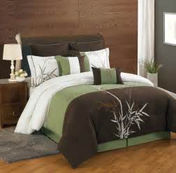 Cal King Bed Set Dark Brown And Green Bedding Set With White Combination On