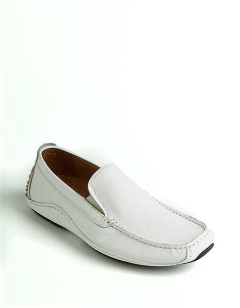loafers for white steve madden rocckit leather loafers in white for lyst