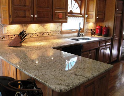Cognac Kitchen Cabinets by Giallo Ornamental Granite Installed Design Photos And