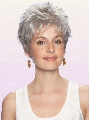 short hair wigs for older women durable wavy cropped synthetic grey wigs style