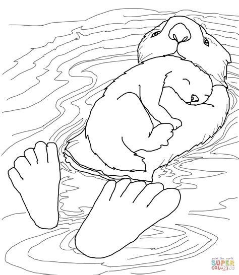 sea ottter with baby coloring page free printable