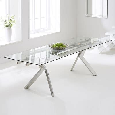 White Glass Extending Dining Table Palmero Glass Extending Dining Table With 8 Harvey White Chairs