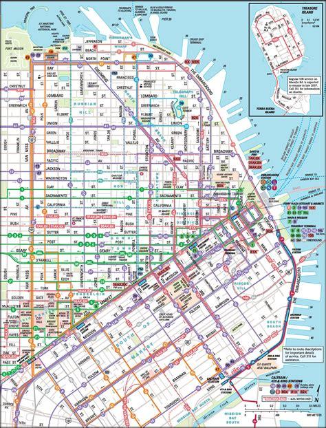san francisco usa map san francisco downtown muni map
