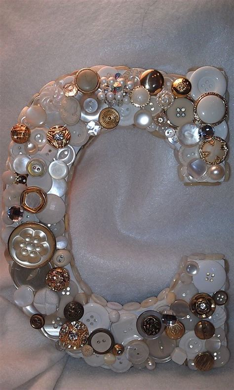 shabby chic buttons custom 9 inch button initial white and gold c wedding