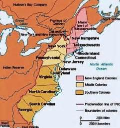 map of colonial southern colonies