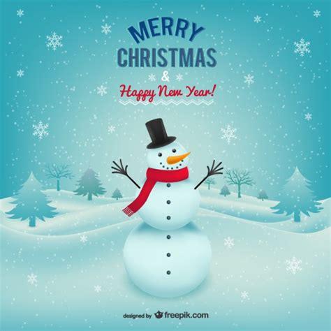 merry christmas card  snowman vector